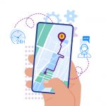 Flat design vector illustration of hand holding smartphone with mobile navigation app on screen. Route map with symbols showing location of man. Global Positioning System concept design elements.